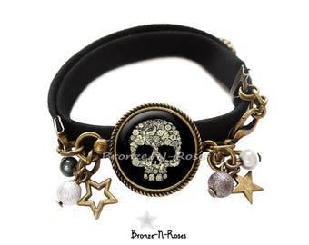 Black skull cabochon bronze-n-roses halloween skull bracelet