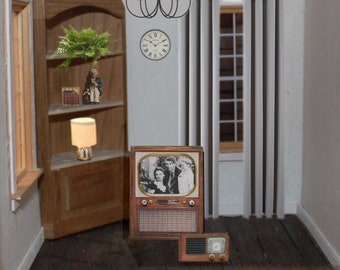 2 piece Dollhouse Set TV & Old Radio Vintage Look Wood Its a Wonderful Life 1:12 scale