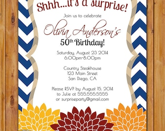 Surprise Birthday Fall Autumn Floral Flower Invite Navy Blue Chevron Red Orange Yellow 50th 60th Birthday Party Invite 5x7 Digital JPG (329)