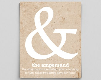 Ampersand Sign Ampersand Print Punctuation Print Gifts for Teachers Book Lover Typographic Print English Teacher Gifts Funny Grammar Poster