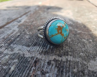 Sterling Silver Kingman Turquoise Ring US size 9