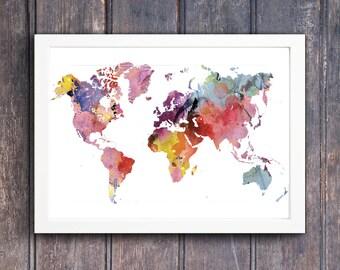 World map, Rainbow, Watercolor, Printable traveller wall art, Geography cartography art print travel, wanderlust, decor watercolor world map