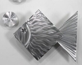 Tropical Modern Metal Wall Art - Handmade Fish Sea Silver Wall Sculpture for Nautical Decor - Island Time by Jon Allen