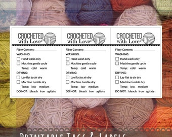 """Care Instruction Printable PDF Cards for Crocheters - """"Crocheted with Love"""" Labels or Tags for DIY Handmade Crochet Crafts"""