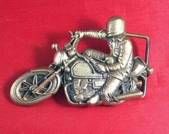 Vintage Motorcycle Belt Buckle, 1978, Baron Buckle, Solid Brass, Gifts for Him