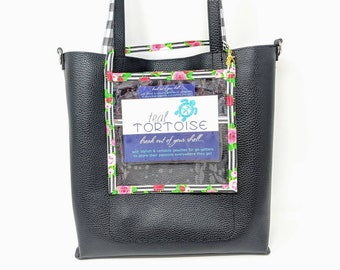 """Square Catalog Holder - 7""""x 7"""" - Small Catalog Holder - Clear Vinyl pouch, business card pocket on the back,  with Strap and Lobster Clasp"""
