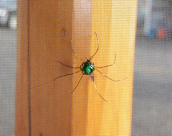 Screen Door Saver- Beaded Spider- Small Bright Green