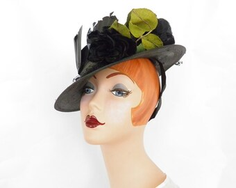 1930s black hat, woman's vintage tilt, black roses, feathers