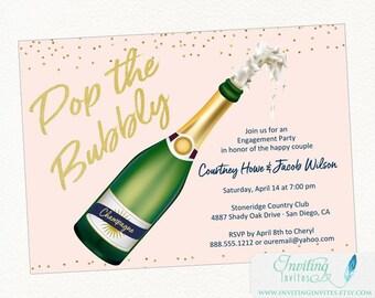 Engagement Party Invitation | Champagne Invitation, Pop the Bubbly, Bridal Shower Invitation, Birthday Party Invitation, Bachelorette Party