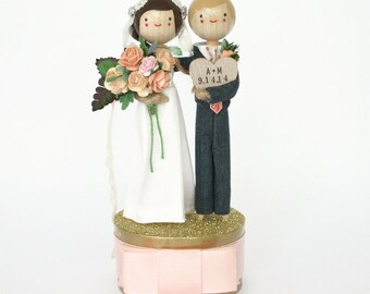 Personalized Wedding Cake Topper - Custom Wedding Cake Topper with 1x CUSTOM CLOTHING and 1x HEART