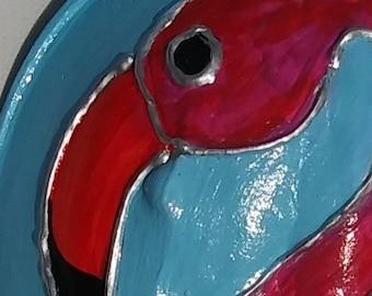 Flamingo painted horseshoe crab