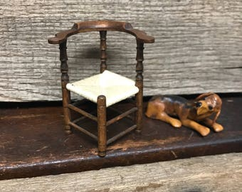 vintage miniature antique wood corner chair, rush style seat, artist made, doll house furniture, photo prop, diorama supply, fairy house