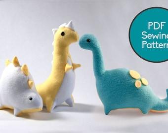 Dinosaur Pattern Bundle, PDF Sewing Pattern, Brontosaurus T-Rex and Stegosaurus Sewing Pattern Set
