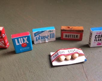 Dollhouse Miniatures/Miniature Kitchen Essentials/Miniature Eggs, Butter, Cereal, Soap