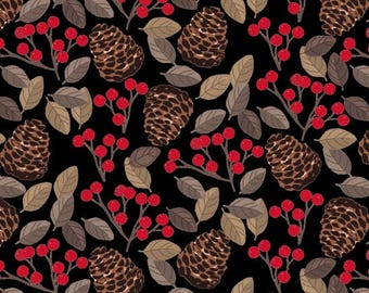 Snow Delightful for Studio E - Full or Half Yard Pinecones Berries and Leaves on Black - Winter Foliage
