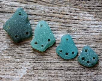 Drilled seaglass teal gift teal green seaglass jewelry genuine sea glass jewelry bulk seaglass triangle jewelry 4 holes chandelier connector