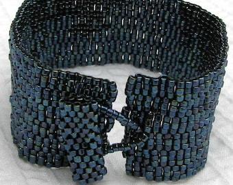 Gunmetal Peyote Cuff Bracelet (2031)