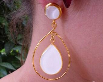 Statement Jewelry, Bridal Earrings, White Earrings, Wedding Earrings, Drop Earrings, Big Earrings, Elegant Earrings, Greek Jewelry