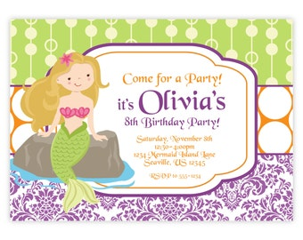 Mermaid Invitation - Purple Damask and Green, Orange Polka Dots, Girl Mermaid Personalized Birthday Party Invite - a Digital Printable File