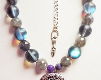 Charge Of The Star Goddess Pentacle Bracelet - Anandalite And Labradorite Invocation Bracelet