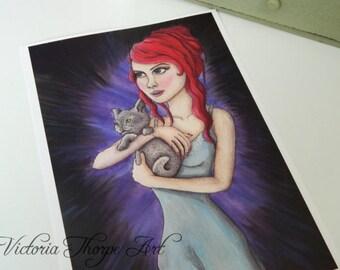 SALE Art Print - Girl with Kitten Cute Cat Nightdress Red Hair Silk Purple Black Fantasy Character Imaginative Weird Dreams Pretty