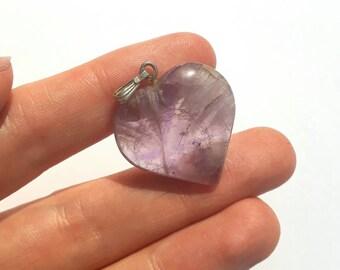 Flourite and silver Purple heart pendant hardstone vintage valentine loveheart necklace