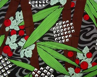Japanese CHERRY Floral Art Print Japan Oriental Quilt Fabric - by the Yard Red Green Brown Yasuko Saito
