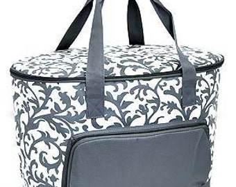 Insulated Cooler Bag.  Gray Demask pattern.  Includes FREE Embroidery