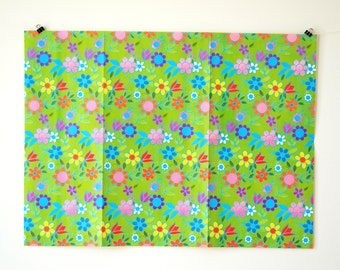 Vintage Wrapping Paper with Flowers - Vintage Gift Wrap  - Colorful Retro Gift Wrap