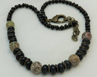 Serpentine and Black Onyx Bead Necklace