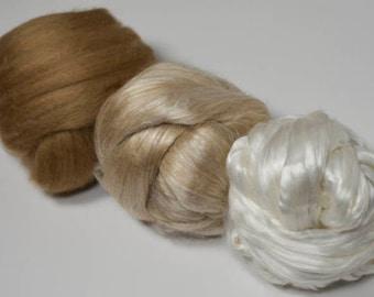 Camel and Silk Fiber Sampler, Camel and Silk Spinning Fiber, Great gift for Spinner, Try an assortment of Camel and Silk fiber.