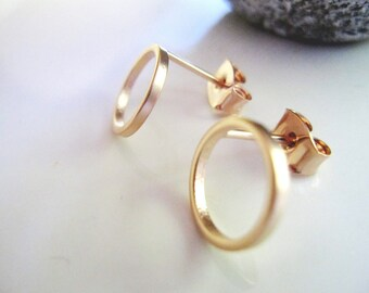 Tiny Rose Gold Earrings, Modern, Post style Earrings, Geometric, Minimalist Jewelry, Redpeonycreations