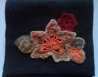 Boiled wool scarf with applied freeform crochet