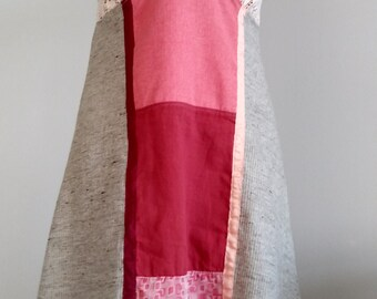 Feminine and funny dress with an ombre composition of fabric colors