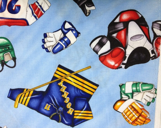 Hockey Gear 100% cotton fabric, ( sold in multiple lengths)  #296