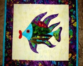 Wall Hanging Fish Quilt Art Applique Fish Lips Batik Aqua Purple Green Red Original Design