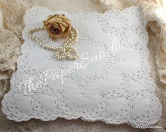 "12"" Square White Paper Doilies, French Lace Doilies"