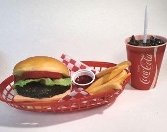 Fake food diner car hop cheeseburgerl /fries /60's coke/
