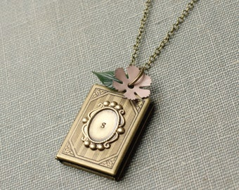 Locket necklace initial personalized brass flower vintage monogram hand stamped gift for her custom bronze antique whimsical victorian