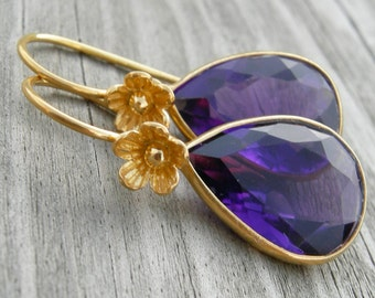 Violet Quartz Gold Vermeil Earrings Holiday Jewelry
