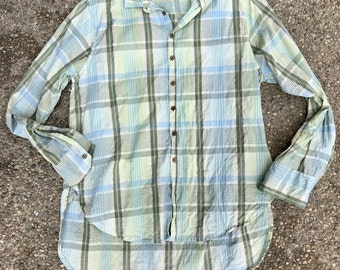 Washed plaid cotton boyfriend shirt