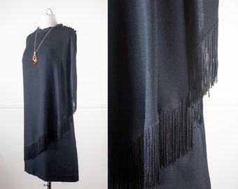 1960s Black Fringe Dress, Flapper Dress, 60s Dress, Mod Shift Dress, Black Dress, Retro Party Dress, Mid Century Modern, 20s Style Dress