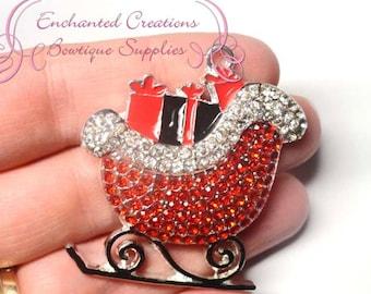Santa's Red Sleigh With Presents, Winter Theme Rhinestone Chunky Pendant, Keychain, Bookmark, Zipper Pull, Chunky Jewelry, Purse Charm