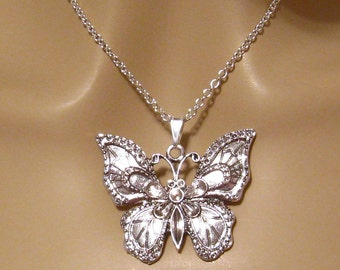 Large Butterfly Necklace, Silver Butterfly Necklace, Art Nouveau Jewelry, Silver Butterfly Jewelry, Insect Jewelry