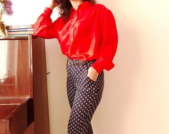 Vintage Silk Red Blouse Blouse/Size L/1980s