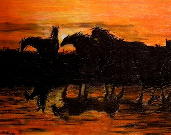 Horse Sunset Tranquility