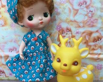 Holala Dolls ' Sundress & Headscarf Dress Set' True Vintage Custom Clothes For Holala Doll