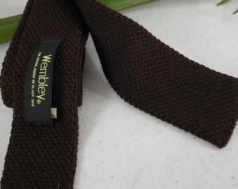 """Dark Brown Skinny Tie 2"""" WEMBLEY Knit"""