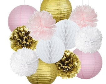 Set of 12 Pink Gold Party Decoration Kit Tissue Paper Pom Pom Honeycomb Ball Paper Lantern Wedding Party Birthday Baby Shower Decoration