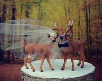 Buck and doe-Bride and groom-deer wedding cake topper-hunter wedding cake topper-hunting cake topper-deer wedding-rustic wedding